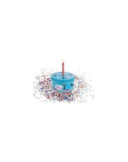 Gift Box Cake with candle & confetti