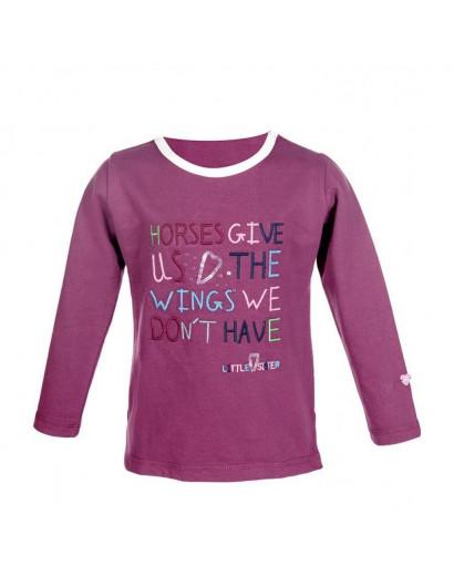 HKM Longsleeve Shirt Bonnie Wings Wine Red Age 4-6 *Clearance*
