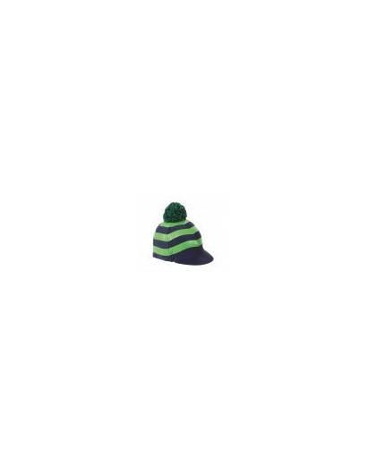 Shires Pom Pom Hat Cover with Stripes Green/Navy