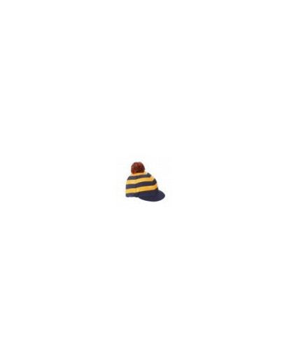 Shires Pom Pom Hat Cover with Stripes Gold/Navy