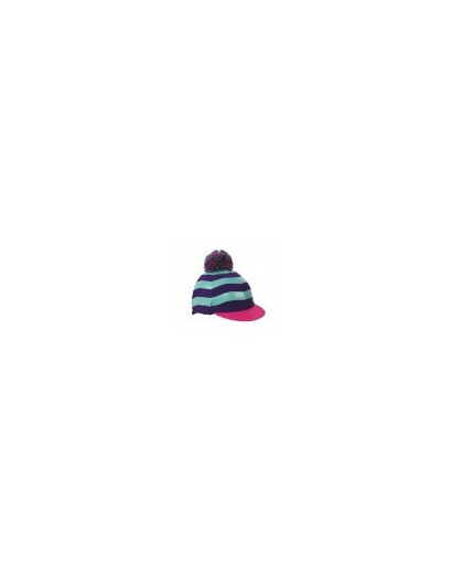 Shires Pom Pom Hat Cover with Stripes Purple/Sea Green/ Pink