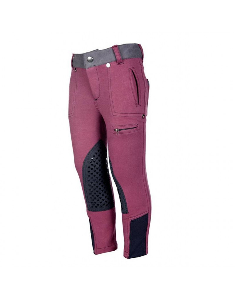 HKM Riding Breeches Bonnie Knee Patch Wine Red