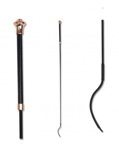Waldhausen Noblesse Dressage Whip - Black/ Rose Gold- 110cm