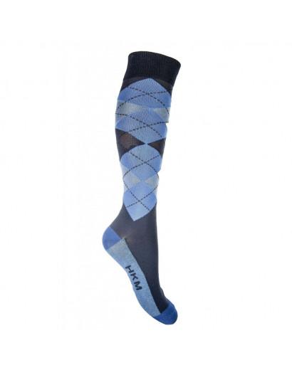 HKM Riding Socks- Check Classico- Navy/ Blue EU39-42