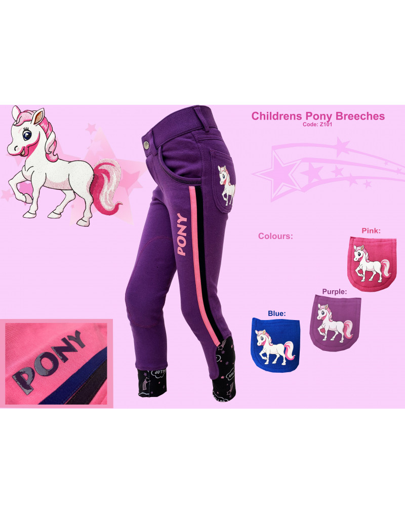 Gallop Children's Pony Breeches-Purple