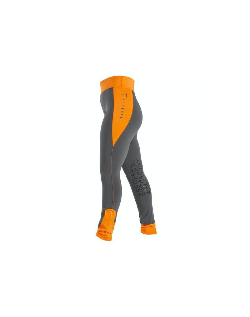 Firefoot Horseshoe Print Ripon Riding Tights- Kids- Charcoal/Orange